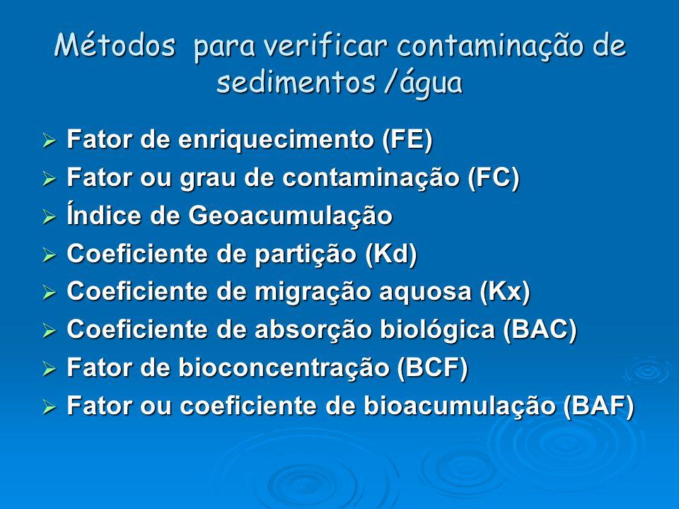Métodos para verificar contaminação de sedimentos /água  Fator de enriquecimento (FE)  Fator ou grau de contaminação (FC)  Índice de Geoacumulação  Coeficiente de partição (Kd)  Coeficiente de migração aquosa (Kx)  Coeficiente de absorção biológica (BAC)  Fator de bioconcentração (BCF)  Fator ou coeficiente de bioacumulação (BAF)