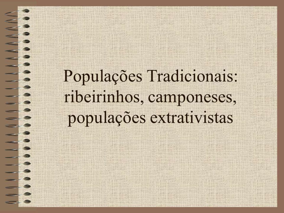 Populações Tradicionais: ribeirinhos, camponeses, populações extrativistas