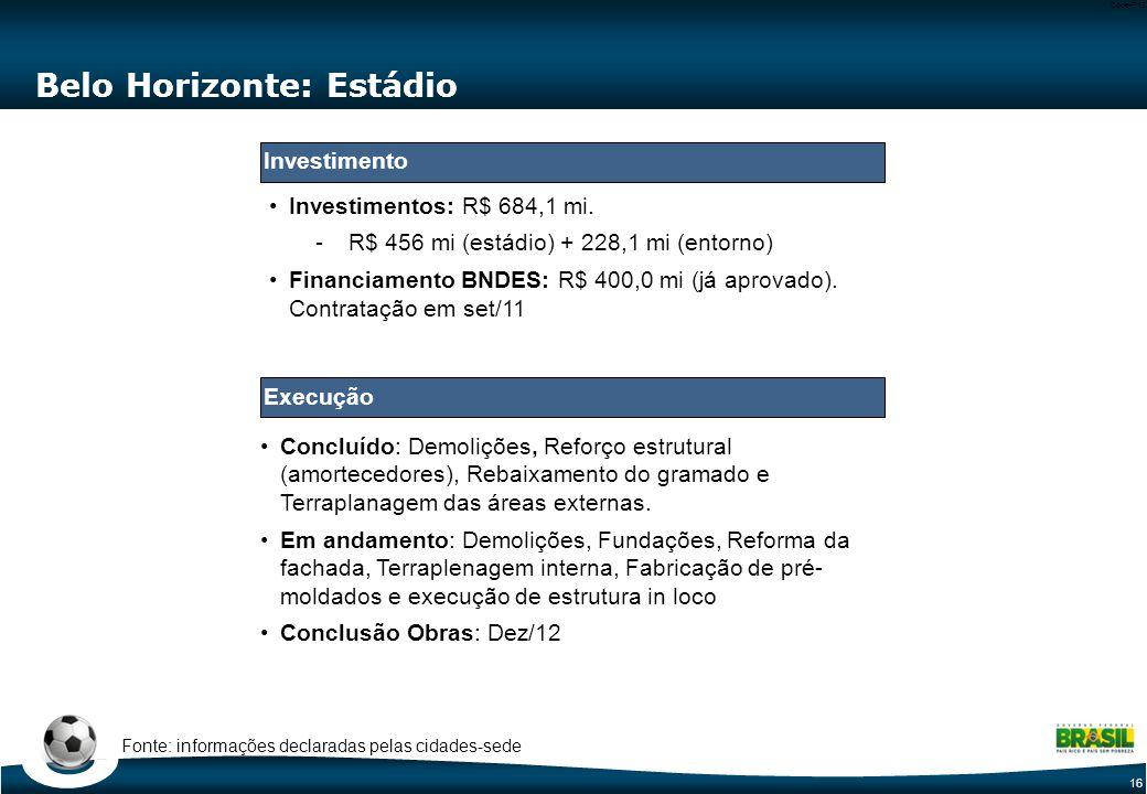 16 Code-P16 Belo Horizonte: Estádio Concluído: Demolições, Reforço estrutural (amortecedores), Rebaixamento do gramado e Terraplanagem das áreas externas.
