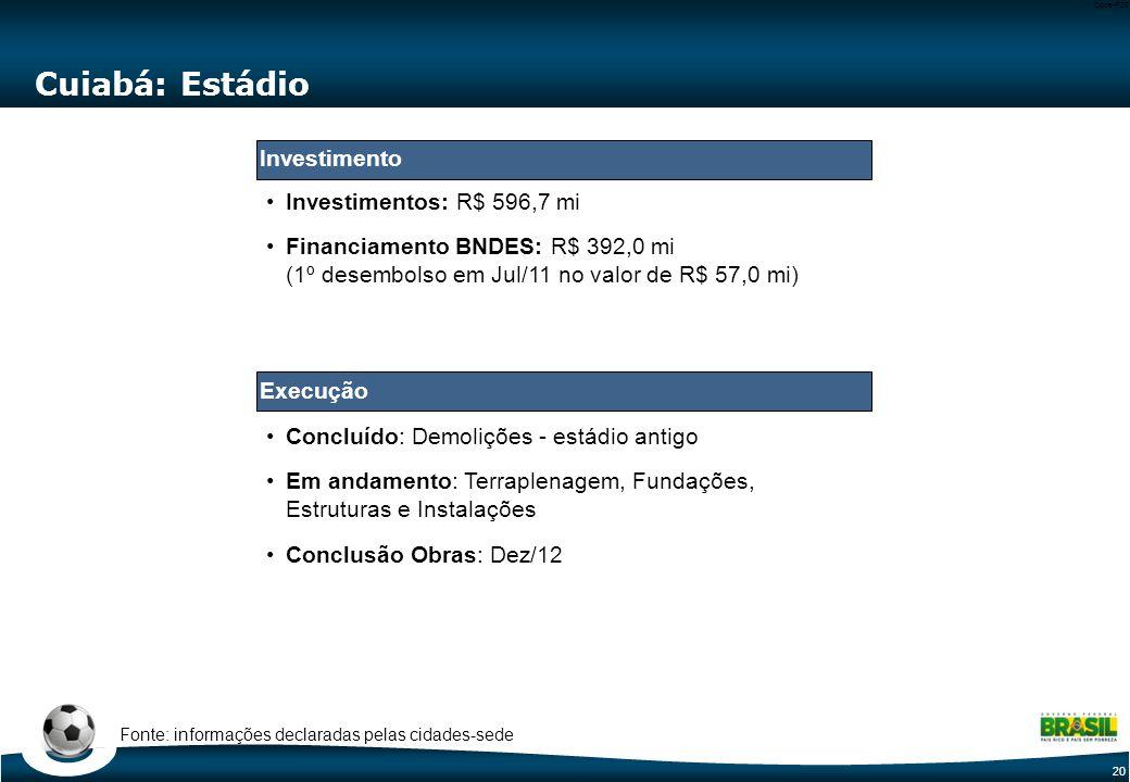 20 Code-P20 Cuiabá: Estádio Concluído: Demolições - estádio antigo Em andamento: Terraplenagem, Fundações, Estruturas e Instalações Conclusão Obras: D