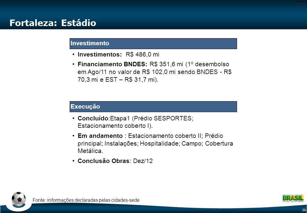 25 Code-P25 Fortaleza: Estádio Concluído:Etapa1 (Prédio SESPORTES; Estacionamento coberto I). Em andamento : Estacionamento coberto II; Prédio princip