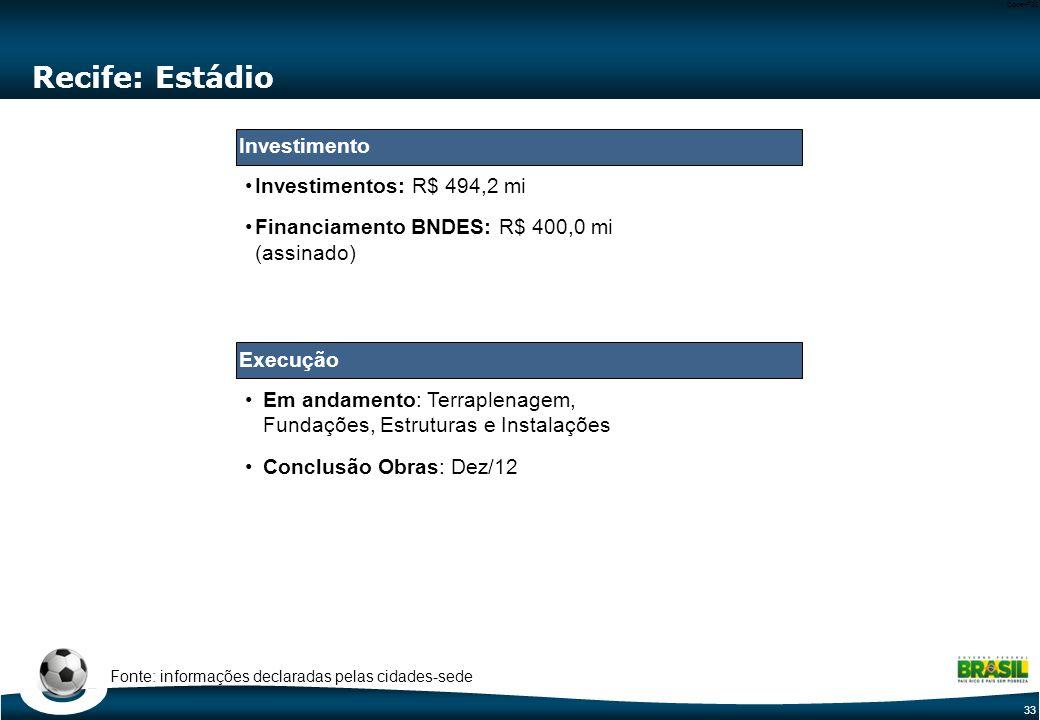 33 Code-P33 Em andamento: Terraplenagem, Fundações, Estruturas e Instalações Conclusão Obras: Dez/12 Recife: Estádio Investimentos: R$ 494,2 mi Financiamento BNDES: R$ 400,0 mi (assinado) Fonte: informações declaradas pelas cidades-sede Execução Investimento