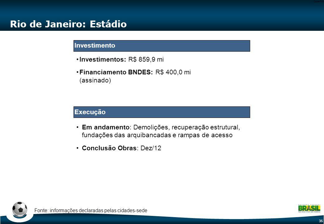 35 Code-P35 Em andamento: Demolições, recuperação estrutural, fundações das arquibancadas e rampas de acesso Conclusão Obras: Dez/12 Rio de Janeiro: Estádio Investimentos: R$ 859,9 mi Financiamento BNDES: R$ 400,0 mi (assinado) Fonte: informações declaradas pelas cidades-sede Execução Investimento