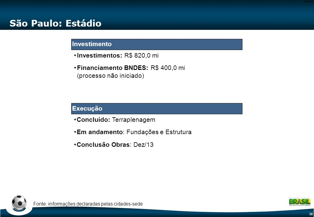 38 Code-P38 São Paulo: Estádio Investimentos: R$ 820,0 mi Financiamento BNDES: R$ 400,0 mi (processo não iniciado) Fonte: informações declaradas pelas cidades-sede Execução Investimento Concluído: Terraplenagem Em andamento: Fundações e Estrutura Conclusão Obras: Dez/13