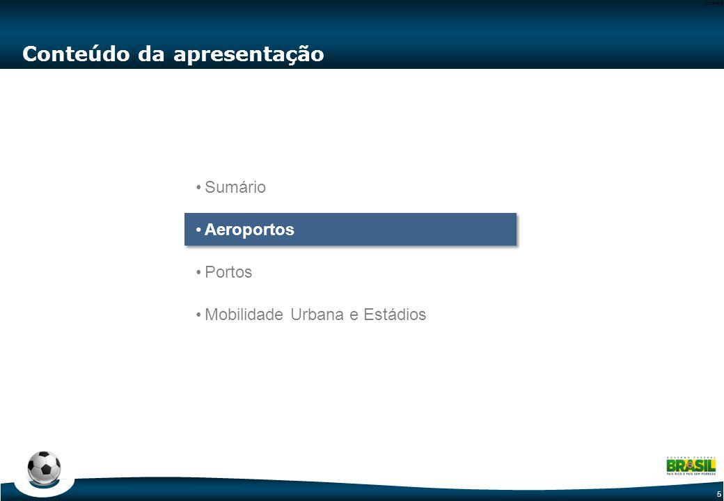5 Code-P5 Conteúdo da apresentação Sumário Aeroportos Portos Mobilidade Urbana e Estádios