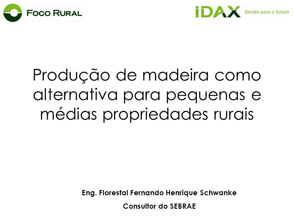 Eng. Florestal Fernando Henrique Schwanke Consultor do SEBRAE Produção de madeira como alternativa para pequenas e médias propriedades rurais
