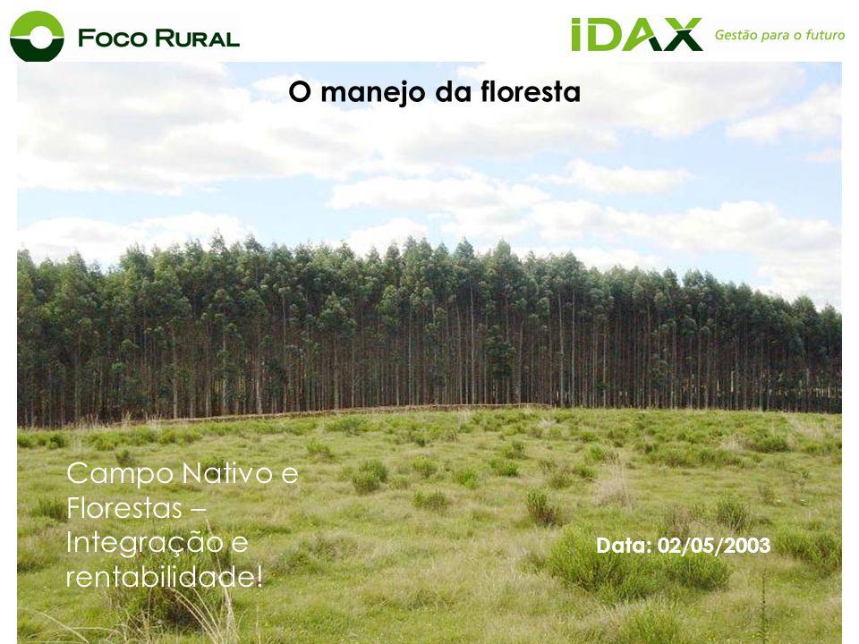 Data: 02/05/2003 Campo Nativo e Florestas – Integração e rentabilidade! O manejo da floresta