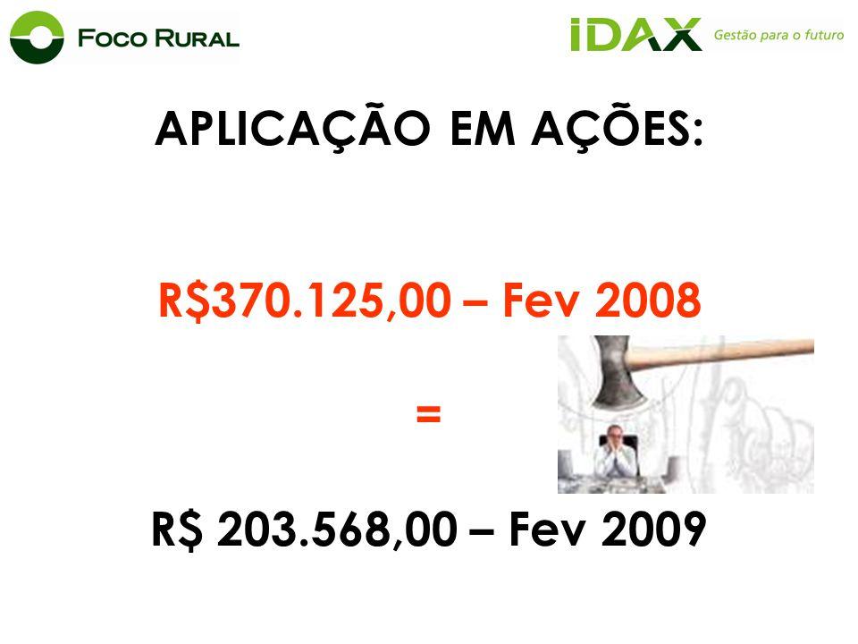 APLICAÇÃO EM AÇÕES: R$370.125,00 – Fev 2008 = R$ 203.568,00 – Fev 2009