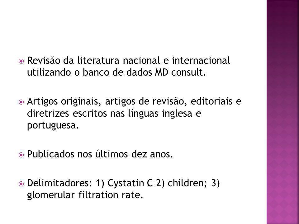  Revisão da literatura nacional e internacional utilizando o banco de dados MD consult.  Artigos originais, artigos de revisão, editoriais e diretri