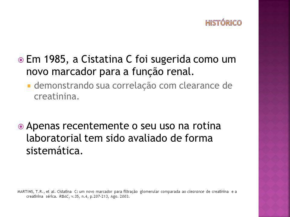  Em 1985, a Cistatina C foi sugerida como um novo marcador para a função renal.  demonstrando sua correlação com clearance de creatinina.  Apenas r