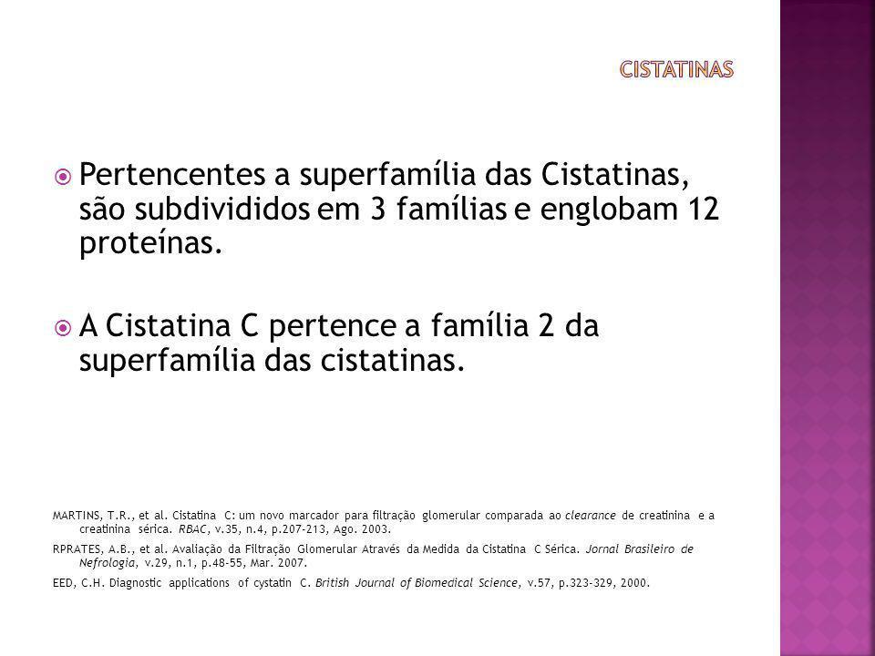  Pertencentes a superfamília das Cistatinas, são subdivididos em 3 famílias e englobam 12 proteínas.  A Cistatina C pertence a família 2 da superfam