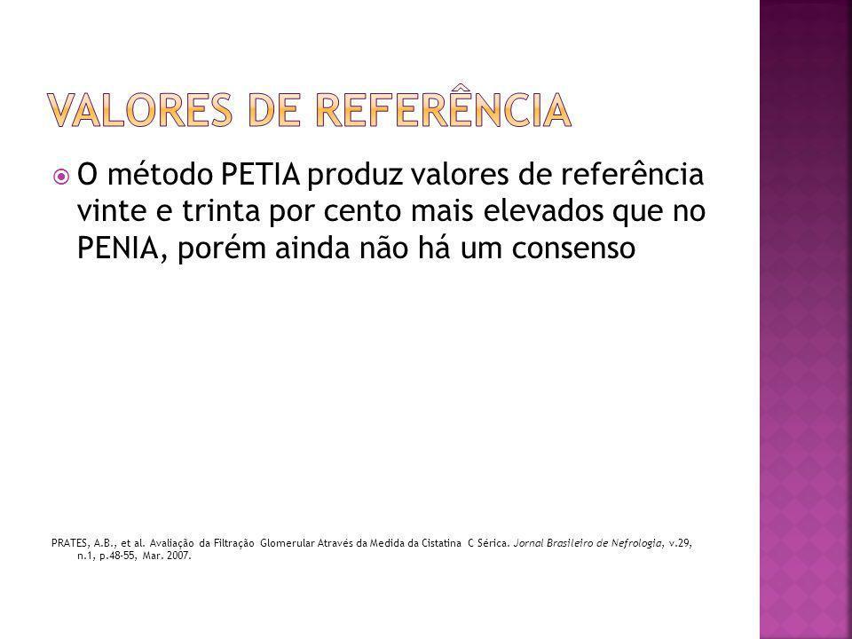  O método PETIA produz valores de referência vinte e trinta por cento mais elevados que no PENIA, porém ainda não há um consenso PRATES, A.B., et al.