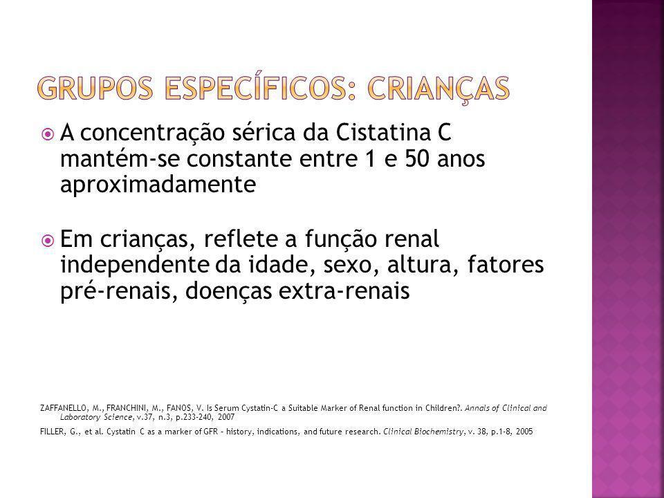  A concentração sérica da Cistatina C mantém-se constante entre 1 e 50 anos aproximadamente  Em crianças, reflete a função renal independente da ida