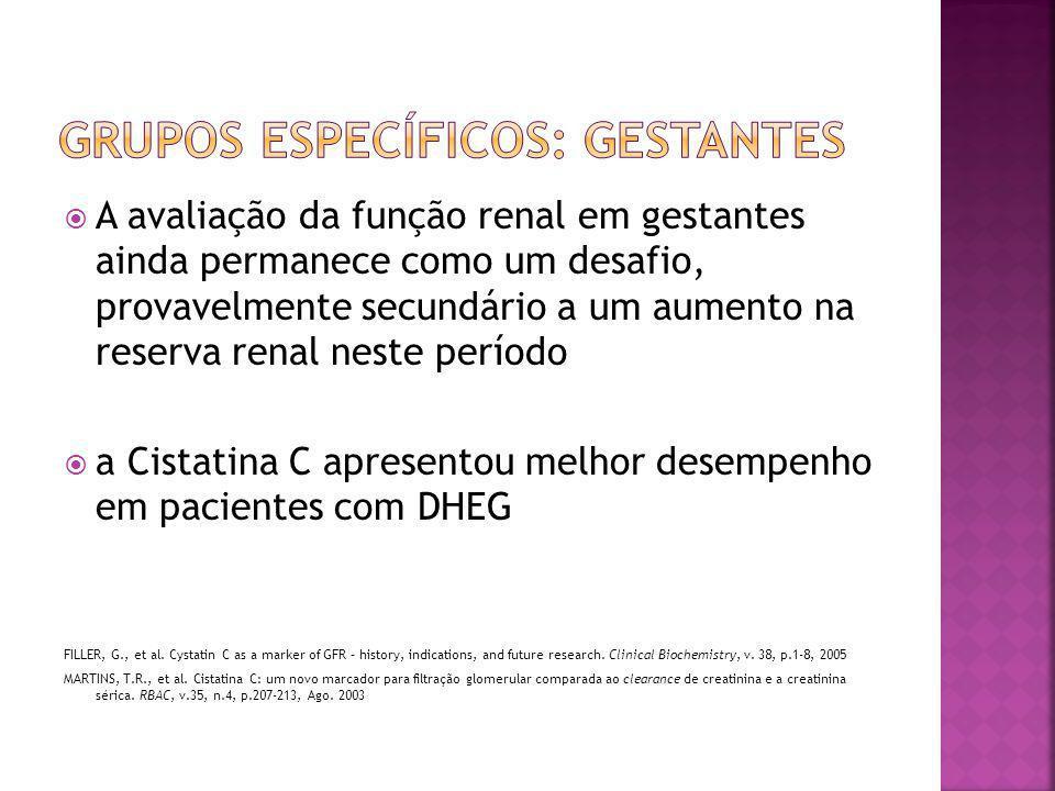  A avaliação da função renal em gestantes ainda permanece como um desafio, provavelmente secundário a um aumento na reserva renal neste período  a C