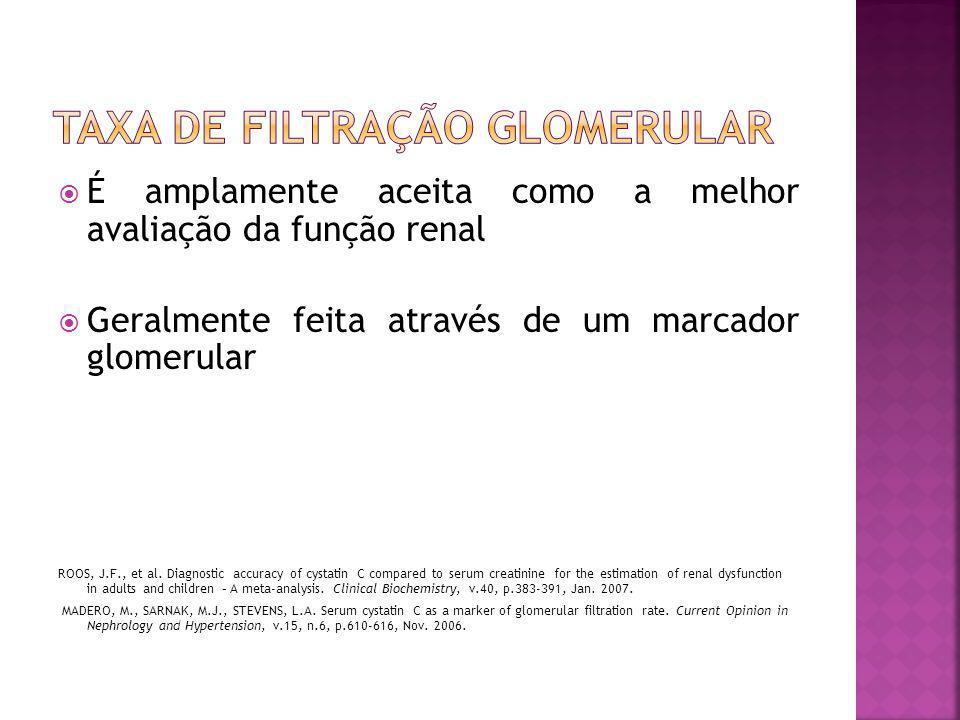  É amplamente aceita como a melhor avaliação da função renal  Geralmente feita através de um marcador glomerular ROOS, J.F., et al. Diagnostic accur