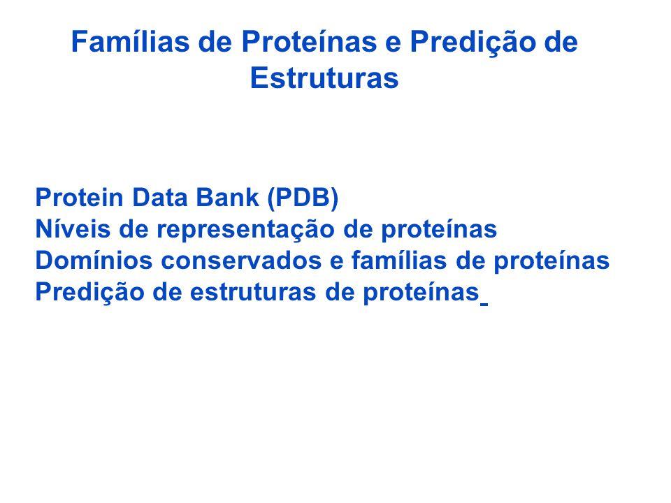 Famílias de Proteínas e Predição de Estruturas Protein Data Bank (PDB) Níveis de representação de proteínas Domínios conservados e famílias de proteínas Predição de estruturas de proteínas