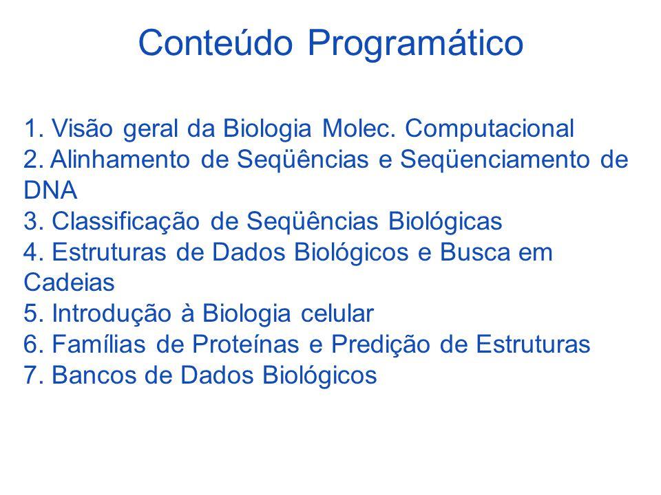 Conteúdo Programático 1. Visão geral da Biologia Molec. Computacional 2. Alinhamento de Seqüências e Seqüenciamento de DNA 3. Classificação de Seqüênc