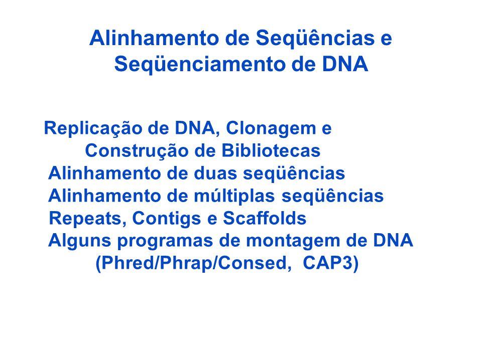 Alinhamento de Seqüências e Seqüenciamento de DNA Replicação de DNA, Clonagem e Construção de Bibliotecas Alinhamento de duas seqüências Alinhamento de múltiplas seqüências Repeats, Contigs e Scaffolds Alguns programas de montagem de DNA (Phred/Phrap/Consed, CAP3)