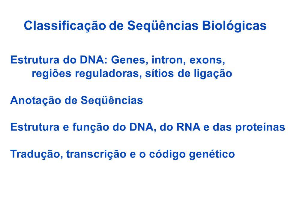 Classificação de Seqüências Biológicas Estrutura do DNA: Genes, intron, exons, regiões reguladoras, sítios de ligação Anotação de Seqüências Estrutura e função do DNA, do RNA e das proteínas Tradução, transcrição e o código genético