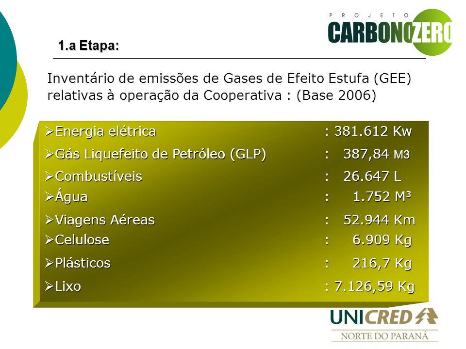 Inventário de emissões de Gases de Efeito Estufa (GEE) relativas à operação da Cooperativa : (Base 2006)  Energia elétrica: 381.612 Kw  Gás Liquefeito de Petróleo (GLP): 387,84 M3  Combustíveis: 26.647 L  Água : 1.752 M 3  Viagens Aéreas: 52.944 Km  Celulose : 6.909 Kg  Plásticos : 216,7 Kg  Lixo : 7.126,59 Kg 1.a Etapa: