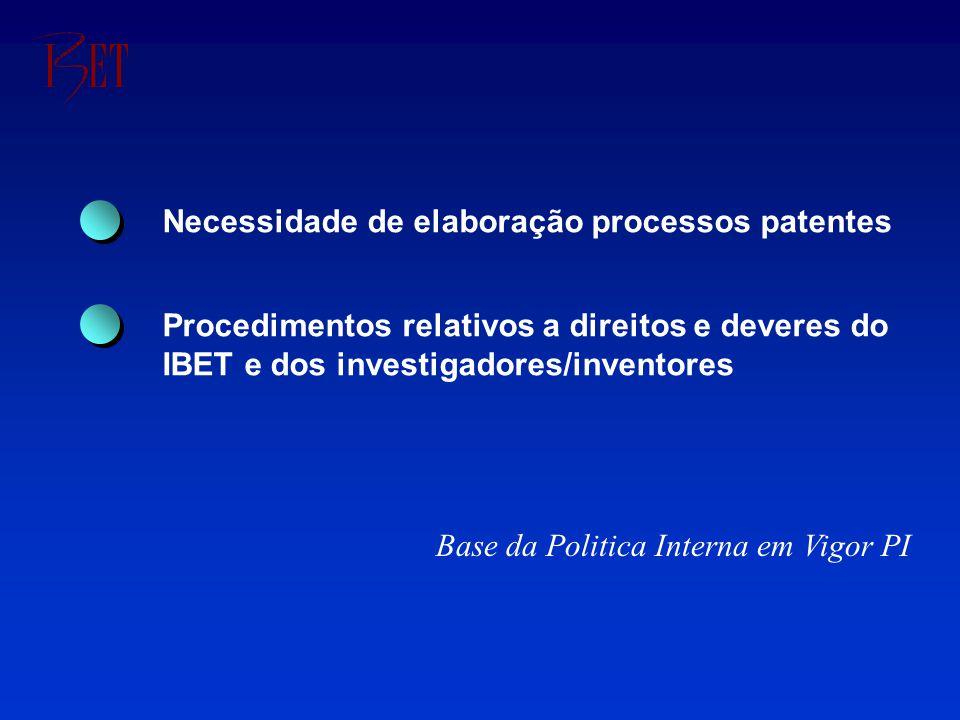 Necessidade de elaboração processos patentes Procedimentos relativos a direitos e deveres do IBET e dos investigadores/inventores Base da Politica Interna em Vigor PI