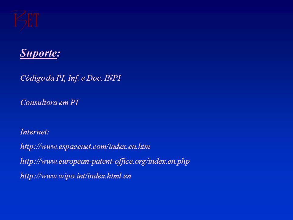 Suporte: Código da PI, Inf. e Doc.