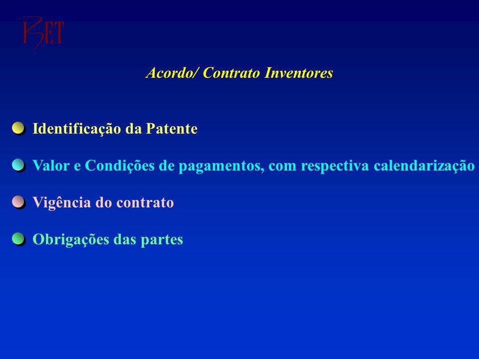 Acordo/ Contrato Inventores Identificação da Patente Valor e Condições de pagamentos, com respectiva calendarização Vigência do contrato Obrigações das partes