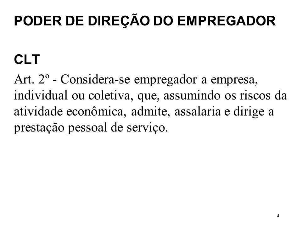 PODER DE DIREÇÃO DO EMPREGADOR CLT Art. 2º - Considera-se empregador a empresa, individual ou coletiva, que, assumindo os riscos da atividade econômic