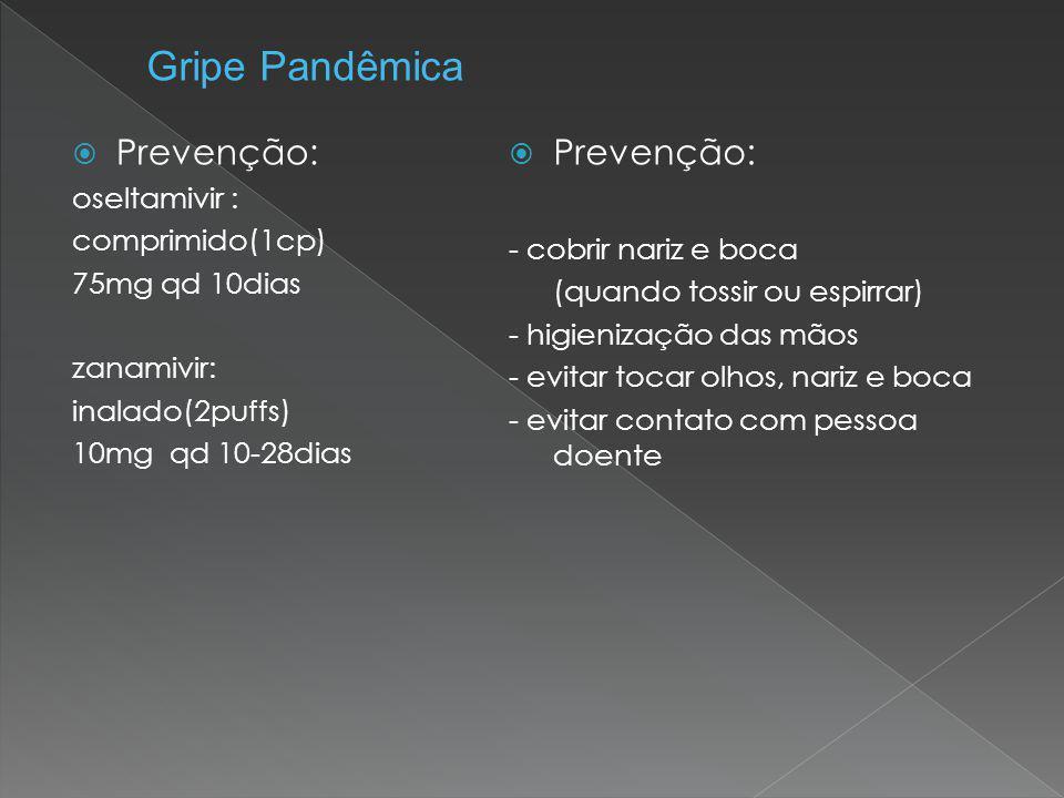  Prevenção: oseltamivir : comprimido(1cp) 75mg qd 10dias zanamivir: inalado(2puffs) 10mg qd 10-28dias  Prevenção: - cobrir nariz e boca (quando toss