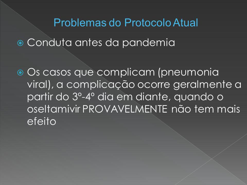  Conduta antes da pandemia  Os casos que complicam (pneumonia viral), a complicação ocorre geralmente a partir do 3º-4º dia em diante, quando o osel
