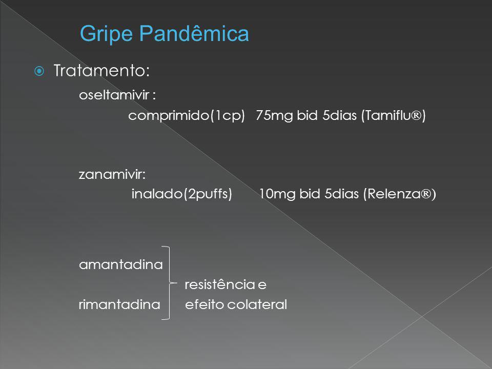  Tratamento: oseltamivir : comprimido(1cp) 75mg bid 5dias (Tamiflu ® ) zanamivir: inalado(2puffs) 10mg bid 5dias (Relenza ®) amantadina resistência e