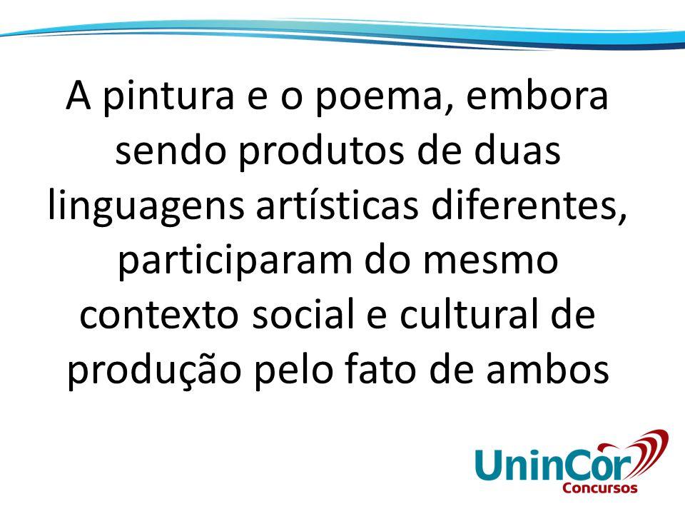 A pintura e o poema, embora sendo produtos de duas linguagens artísticas diferentes, participaram do mesmo contexto social e cultural de produção pelo