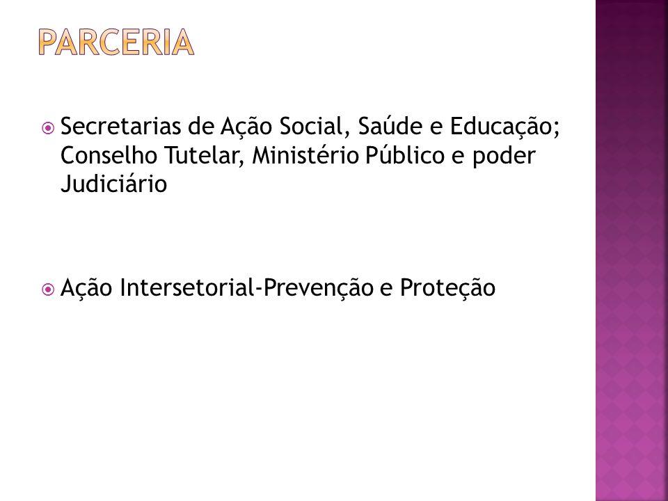  Secretarias de Ação Social, Saúde e Educação; Conselho Tutelar, Ministério Público e poder Judiciário  Ação Intersetorial-Prevenção e Proteção