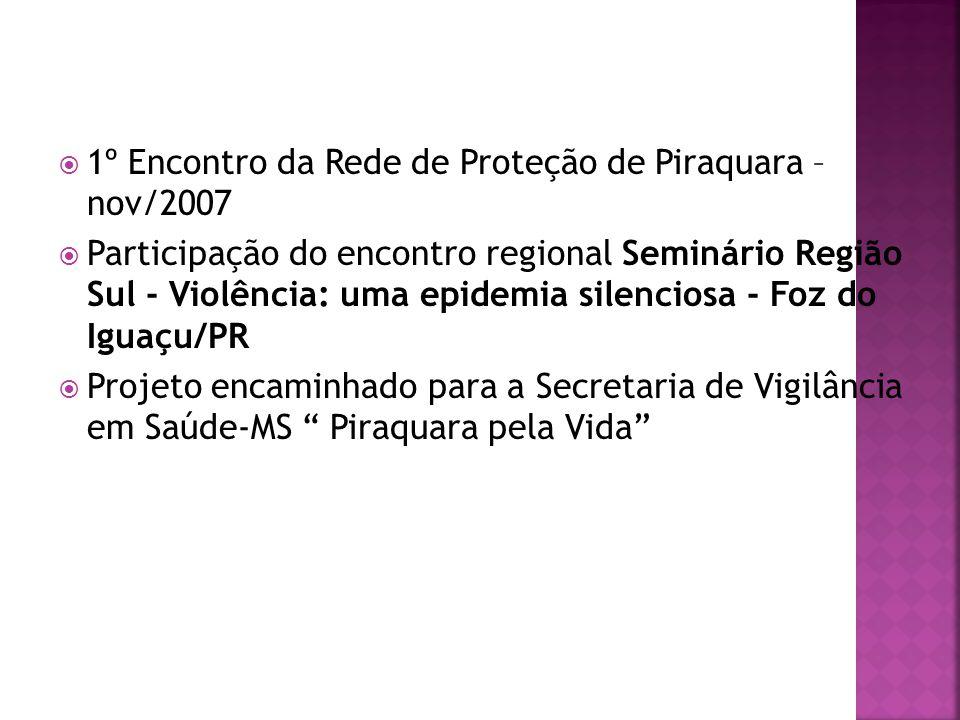  1º Encontro da Rede de Proteção de Piraquara – nov/2007  Participação do encontro regional Seminário Região Sul - Violência: uma epidemia silencios