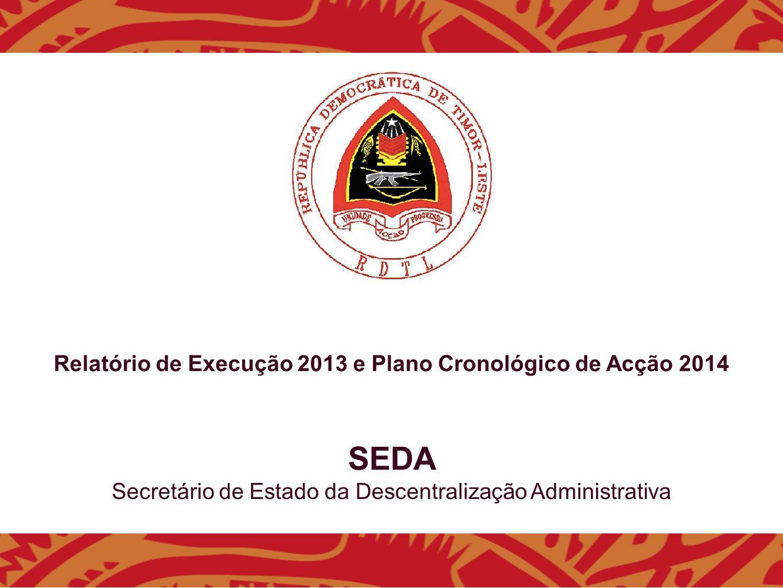SEDA Secretário de Estado da Descentralização Administrativa Relatório de Execução 2013 e Plano Cronológico de Acção 2014