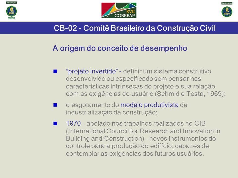 """CB-02 - Comitê Brasileiro da Construção Civil """"projeto invertido"""" - definir um sistema construtivo desenvolvido ou especificado sem pensar nas caracte"""