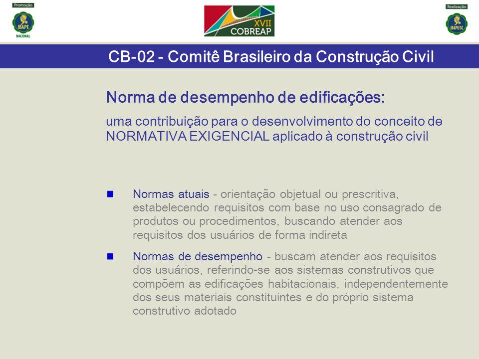 CB-02 - Comitê Brasileiro da Construção Civil Norma de desempenho de edificações: uma contribuição para o desenvolvimento do conceito de NORMATIVA EXI
