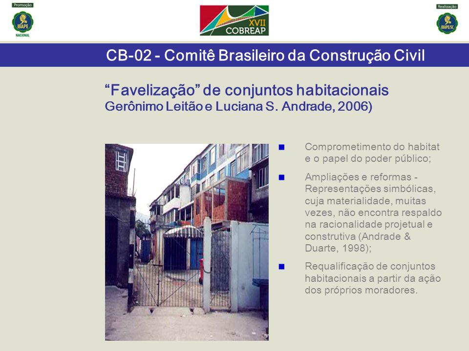 """""""Favelização"""" de conjuntos habitacionais Gerônimo Leitão e Luciana S. Andrade, 2006) Comprometimento do habitat e o papel do poder público; Ampliações"""