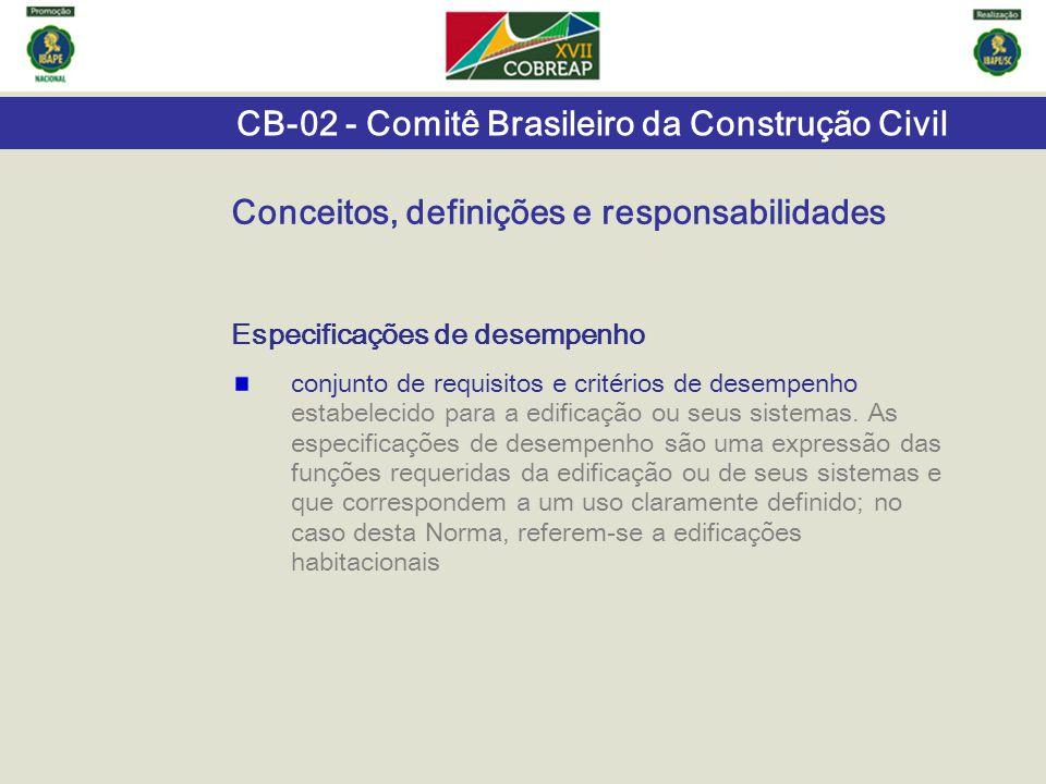 CB-02 - Comitê Brasileiro da Construção Civil Especificações de desempenho conjunto de requisitos e critérios de desempenho estabelecido para a edific