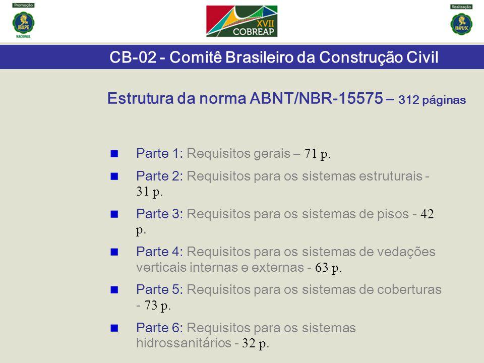 CB-02 - Comitê Brasileiro da Construção Civil Estrutura da norma ABNT/NBR-15575 – 312 páginas Parte 1: Requisitos gerais – 71 p. Parte 2: Requisitos p