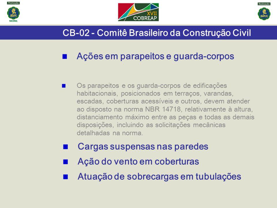 CB-02 - Comitê Brasileiro da Construção Civil Os parapeitos e os guarda-corpos de edificações habitacionais, posicionados em terraços, varandas, escad