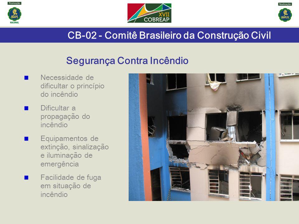 CB-02 - Comitê Brasileiro da Construção Civil Necessidade de dificultar o princípio do incêndio Dificultar a propagação do incêndio Equipamentos de ex