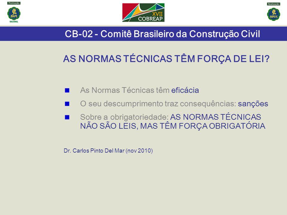 CB-02 - Comitê Brasileiro da Construção Civil AS NORMAS TÉCNICAS TÊM FORÇA DE LEI? As Normas Técnicas têm eficácia O seu descumprimento traz consequên
