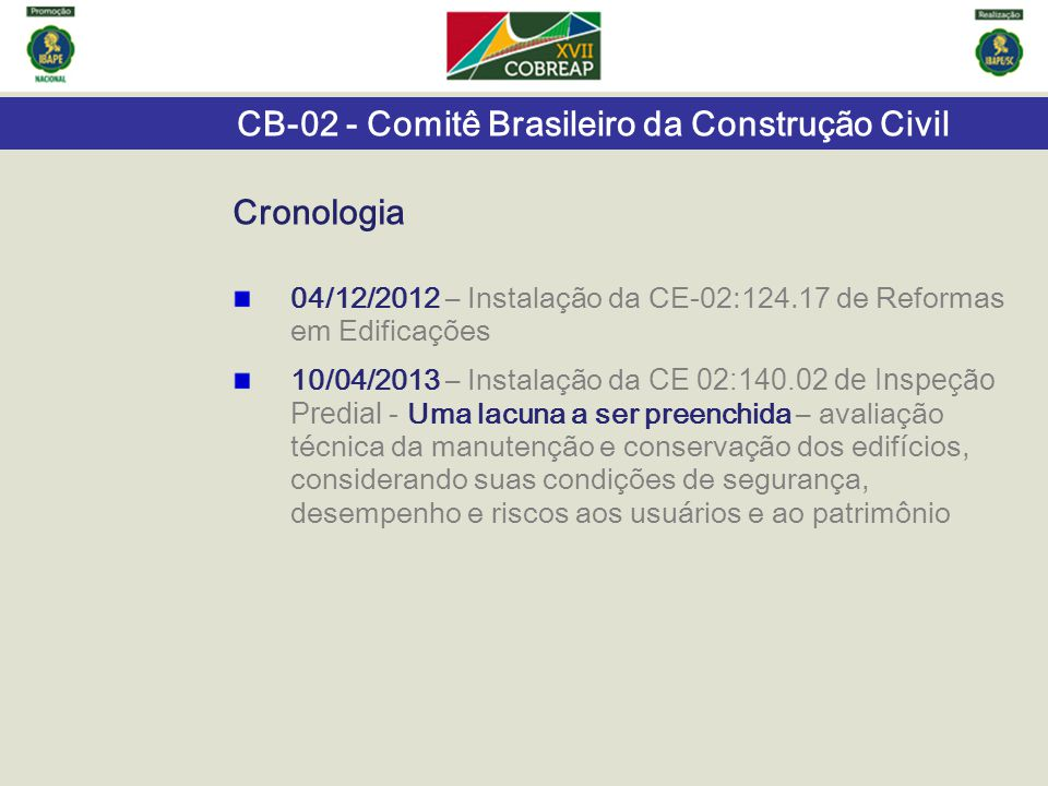 CB-02 - Comitê Brasileiro da Construção Civil 04/12/2012 – Instalação da CE-02:124.17 de Reformas em Edificações 10/04/2013 – Instalação da CE 02:140.