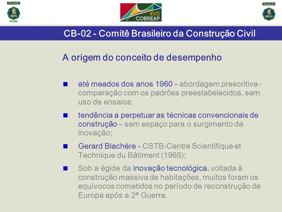 CB-02 - Comitê Brasileiro da Construção Civil Especificações de desempenho conjunto de requisitos e critérios de desempenho estabelecido para a edificação ou seus sistemas.