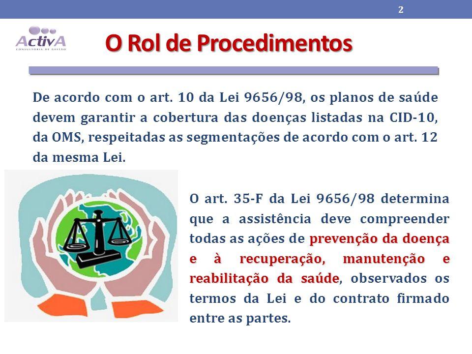 O Rol de Procedimentos prevenção da doença e à recuperação, manutenção e reabilitação da saúde O art.