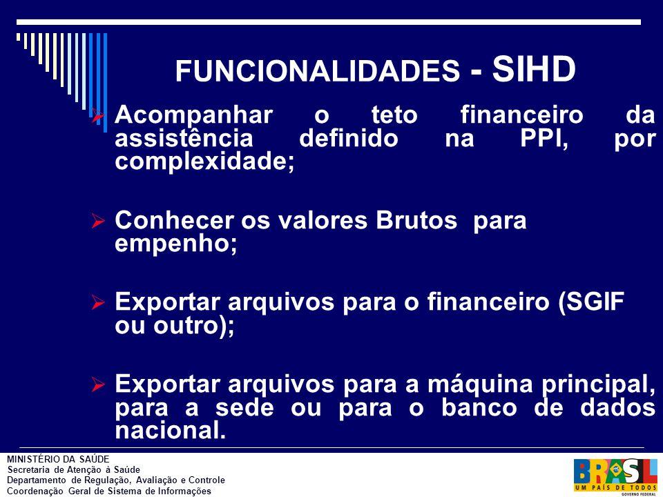 FUNCIONALIDADES - SIHD  Acompanhar o teto financeiro da assistência definido na PPI, por complexidade;  Conhecer os valores Brutos para empenho;  E