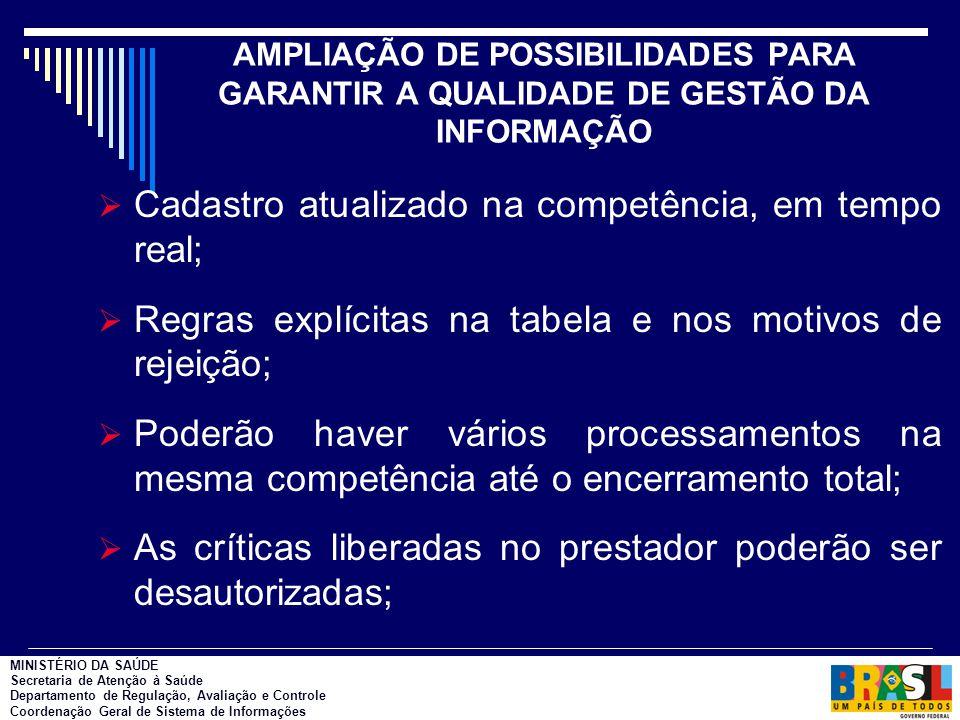AMPLIAÇÃO DE POSSIBILIDADES PARA GARANTIR A QUALIDADE DE GESTÃO DA INFORMAÇÃO  Cadastro atualizado na competência, em tempo real;  Regras explícitas