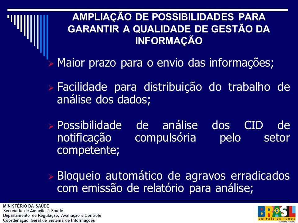AMPLIAÇÃO DE POSSIBILIDADES PARA GARANTIR A QUALIDADE DE GESTÃO DA INFORMAÇÃO  Maior prazo para o envio das informações;  Facilidade para distribuiç