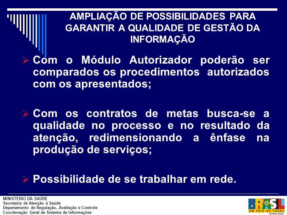 AMPLIAÇÃO DE POSSIBILIDADES PARA GARANTIR A QUALIDADE DE GESTÃO DA INFORMAÇÃO  Com o Módulo Autorizador poderão ser comparados os procedimentos autor